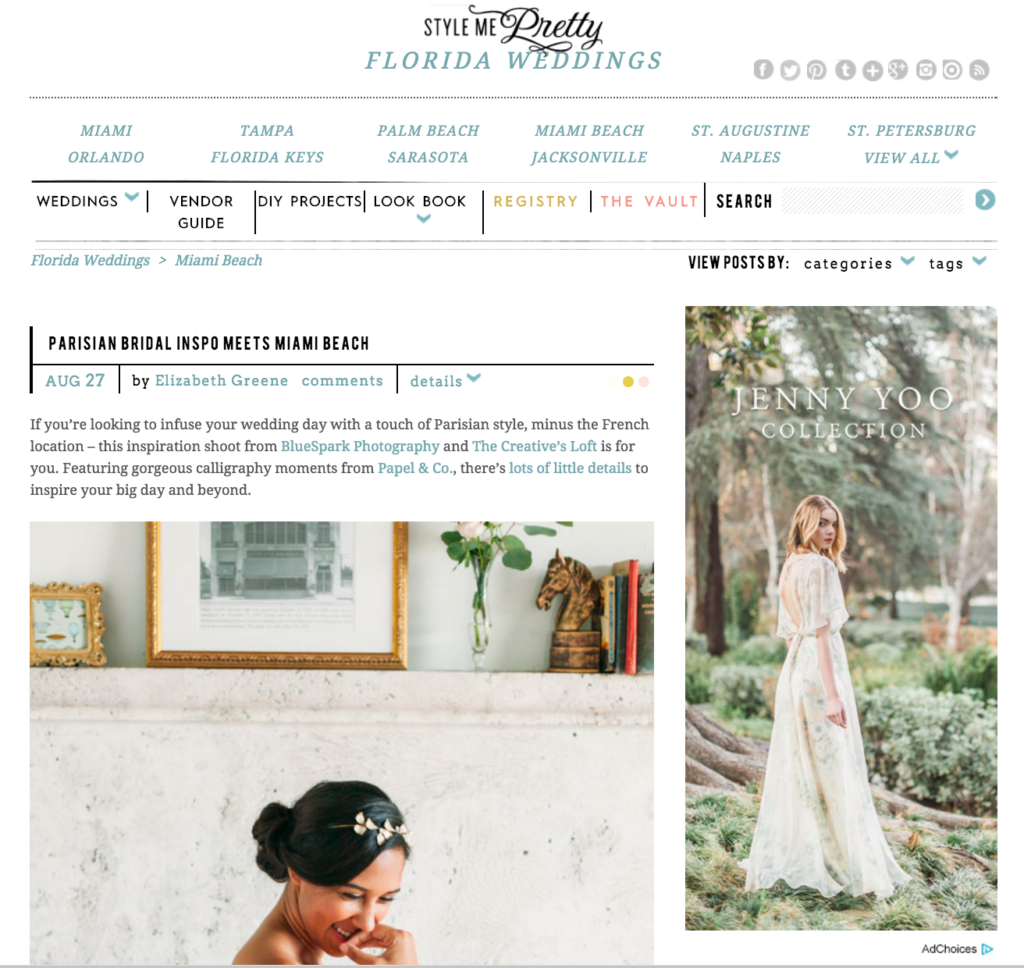 Press and featured in top wedding blogs miami event planner httpstylemeprettyflorida weddingsmiami junglespirit