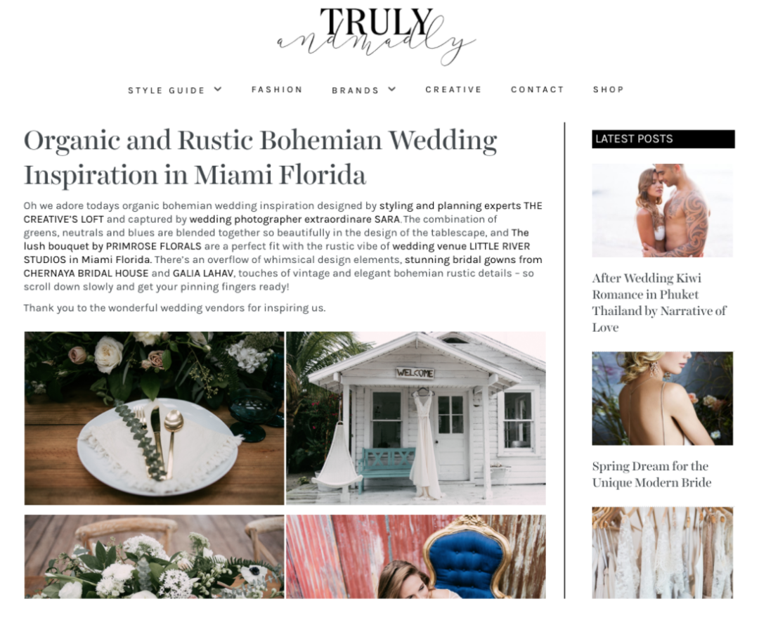 Featured on Truly and Madly - Organic & Rustic Bohemian Wedding Inspiration in Miami