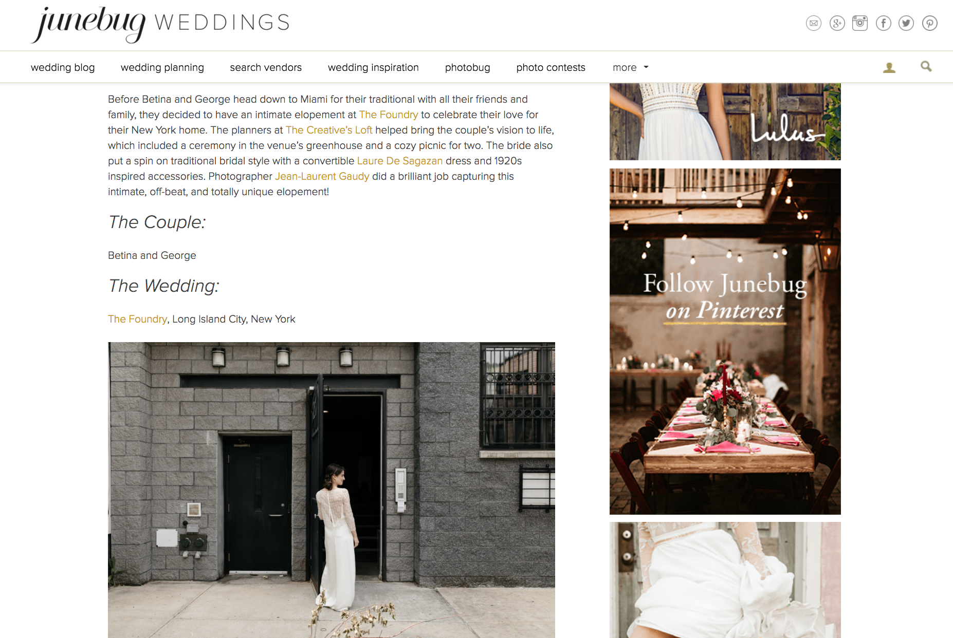 Featured on Junebug Weddings Blog our Brooklyn Elopement Wedding