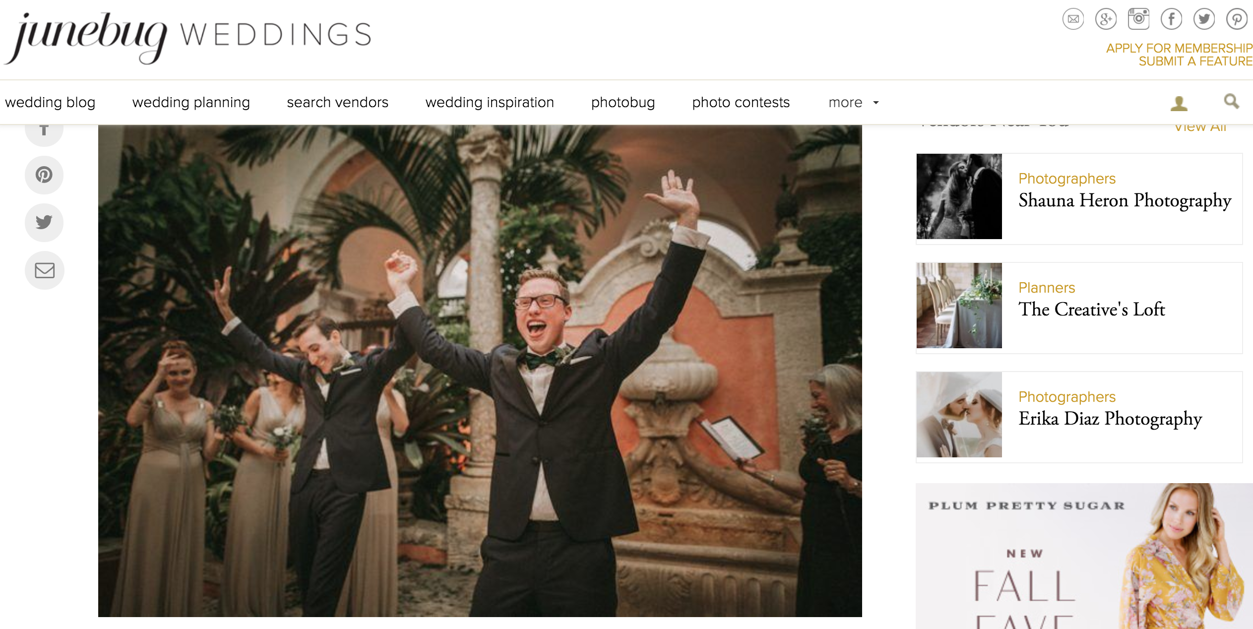 Featured on Junebug Weddings our Vizcaya Wedding The Creatives Loft Miami Wedding Planner Pablo Laguia Wedding Photographer
