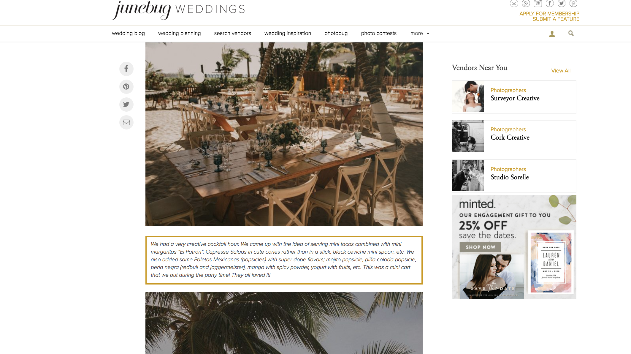Featured on Junebug Weddings our Boho Beach Wedding The Creatives Loft