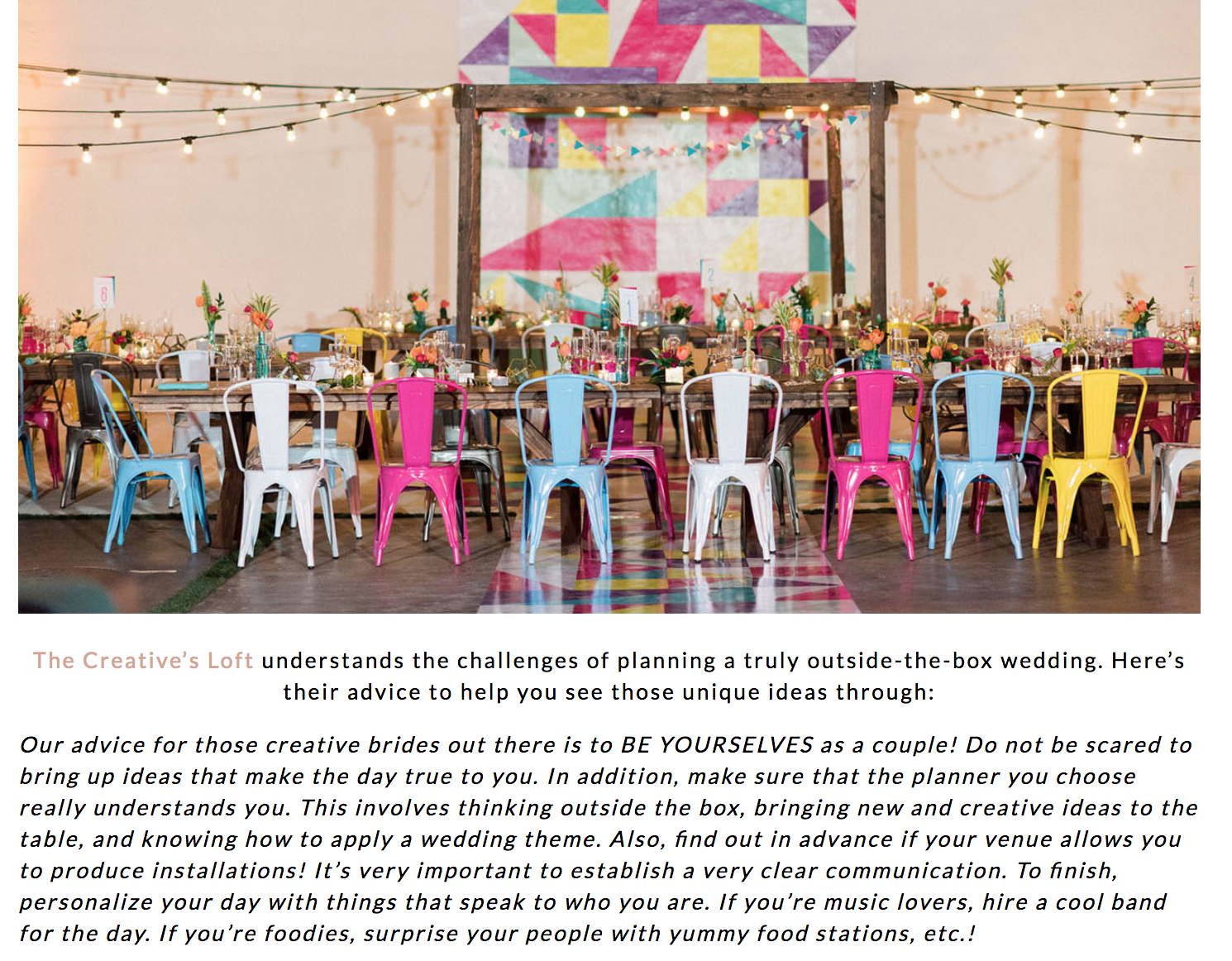 Featured on Green Wedding Shoes our Industrial Colorful Wedding The Creatives Loft Wedding Planning Studio