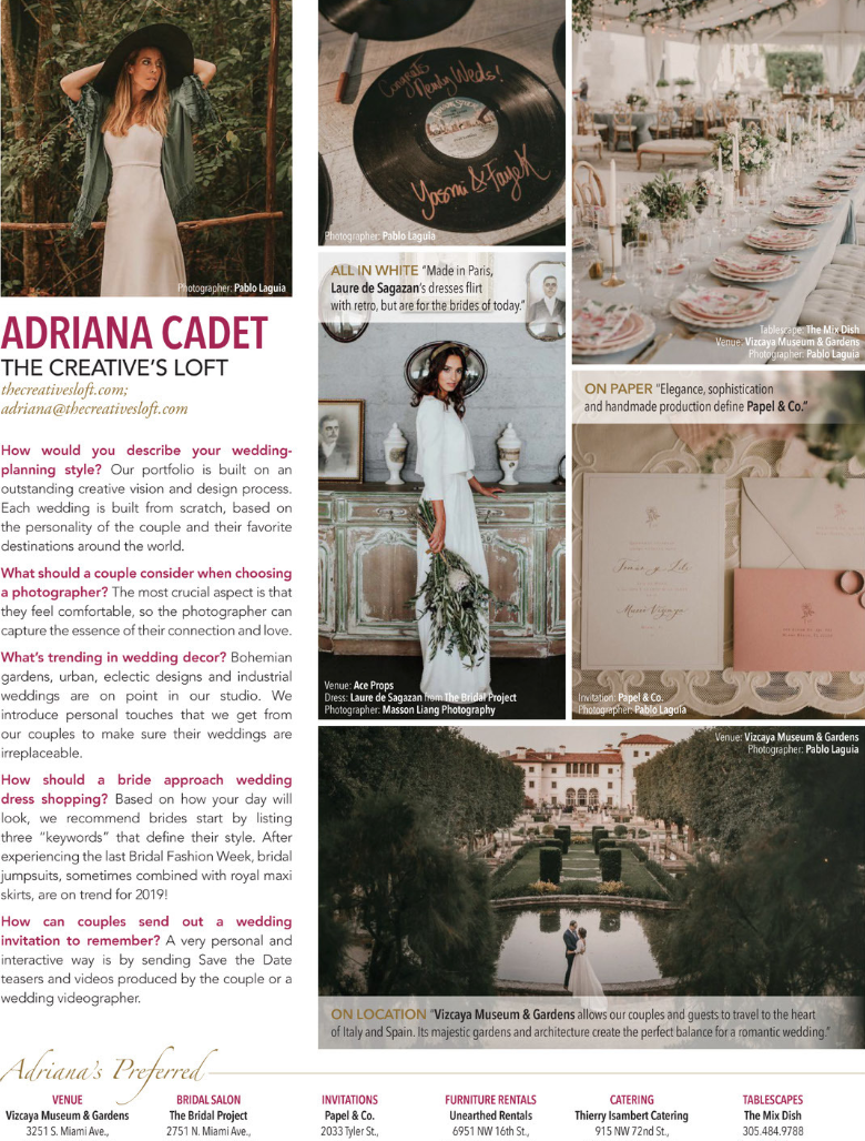 Featured in South Florida Luxury Guide Wedding Planner