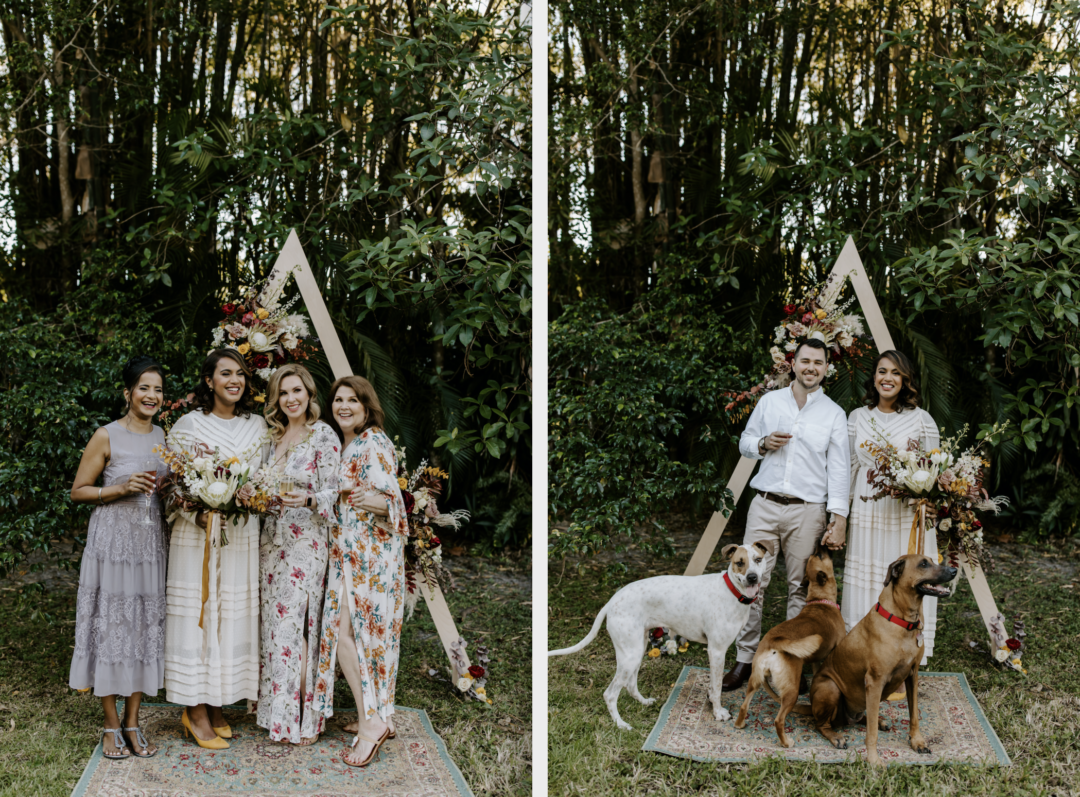Miami Bohemian Elopement Wedding The Creative's Loft bride with moms and dogs