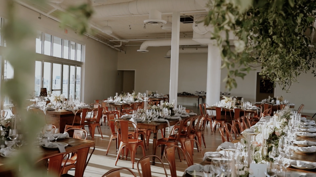 Overall View of the Romantic Industrial Reception at Penthouse Riverside Wharf